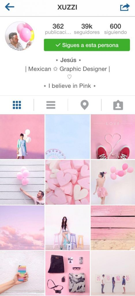 Feed por colores en instagram
